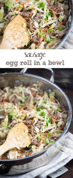 Fast Asian Inspired Sausage Egg Roll In A Bowl {Crack Slaw} Recipe Slaw Recipes, Pork Recipes, Low Carb Recipes, Diet Recipes, Cooking Recipes, Healthy Recipes, Recipes Dinner, Breakfast Recipes, Recipies
