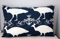 Navy Peacock Pillow Cover in a Large Lumbar by TheStitchinChicken