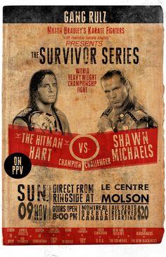 Bret Hart Vs. Shawn Michaels 1997 Survivor Series - Montreal Screw Job Vintage Poster