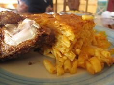 macaroni pie and bajan chicken