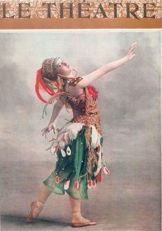 "Le Theatre ~ Tamara Karsavina (1885 – 1978) in the ""Firebird"" Ballet ~ Russian famous ballerina renowned for her Beauty"