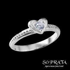 Anel de Prata Coração com Zircônia - 35569