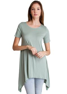 Tapered Tunic Trapeze Top T4473MGR, clothing, clothes, womens clothing, jeans, tops, womens dress