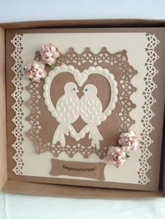 8x8 boxed card (congratulations) suitable for Engagement, Wedding etc. £3.50 Made using craft card and Tonic Verso dies