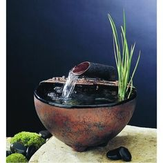 Nayer Kazemi Ceramic Nature Bowl Tabletop Fountain Finish: Black, Fogger: None, Metal Stands: No Stand water fountains feng shui Nayer Kazemi Ceramic Nature Bowl Tabletop Fountain Indoor Tabletop Fountains, Indoor Water Fountains, Indoor Fountain, Garden Fountains, Bamboo Fountain, Waterfall Fountain, Drinking Fountain, Feng Shui Water Fountain, Water Fountain Pumps
