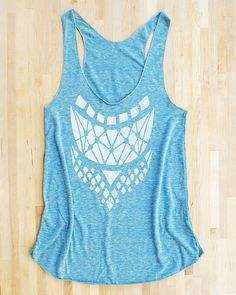 Armored Racerback Tank in triblend green mint teal american apparel screen printed eco-friendly water based inks tribal geometric print via Etsy