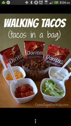 Taco in a bag, fun for kids. Can also try with fritos. Idea for camping.