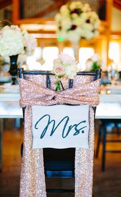 Pick up some sparkly rose gold fabric and wrap it around the bride and grooms chairs to set them apart from the rest Rose Gold Chair Sashes 8 Decor Ideas for a Rose Gol. My Wedding Favors, Gold Wedding Theme, Glitter Wedding, Wedding Themes, Our Wedding, Dream Wedding, Wedding Disney, Wedding Bride, Wedding Venues