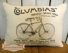 Antique Bike Vintage topography feed/ flour sack pillow Prairie Prim charm ECS RDT Reversible