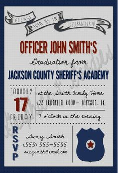 Police Academy Graduation Invitation W/ Thank You Note! Police Retirement Party, Police Party, Retirement Parties, Grad Parties, Cop Party, Party Props, Party Ideas, Retirement Invitations, Graduation Invitations