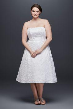 Strapless 9OP1314 Style Tea Length Lace Bridal Dress Plus Size