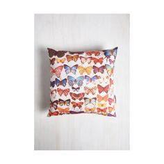 Dorm Decor Wing a Different Tune Pillow by ModCloth ($45) ❤ liked on Polyvore featuring home, home decor, throw pillows, bedding, multi, sheets - basics, dorm decor, butterfly home decor, star home decor y butterfly throw pillow