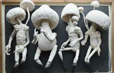 Toadstool-spirits from Mr Finch. Using recycled textiles. Textile Sculpture, Textile Fiber Art, Textile Artists, Soft Sculpture, Mushroom Crafts, Mushroom Art, Mister Finch, Fairytale Creatures, Textiles