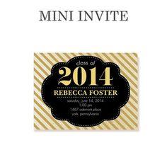 Truly Dazzling - Graduation Invitations - Sarah Hawkins Designs - Umber Brown mini party invite. #graduation