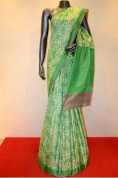 Traditional Paisley Printed Pure Silk Saree            Product Code: SSJG02707