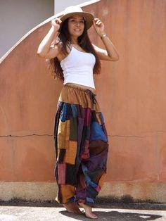 Harem  Pants ...Yoga Pants ..Leisure Pants ... Patchwork Stone Washed Yoga Pants, Harem Pants, Aladdin Pants, Patchwork Fabric, Cotton Lights, Cotton Fabric, Stone, Skirts, Model