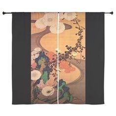 Vintage Japanese Chrysanthemum flowers painting Cu