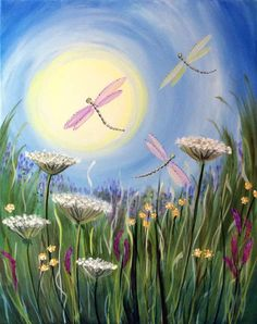 Graffiti Paintbar - Paint and Sip Studio Wine Painting, Painting & Drawing, Watercolor Paintings, Dragonfly Painting, Dragonfly Art, Wine And Canvas, Spring Painting, Paint And Sip, Painting Gallery