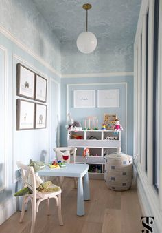 Chic Dental Office Kid's Playroom, Blue Walls With Wallpapered Ceiling, Animal Artwork, Interior Design by Summer Thornton Design Small Playroom, Playroom Design, Playroom Decor, Children Playroom, Kids Rooms, Small Kids Playrooms, Playroom Layout, Office Playroom, Childrens Rooms