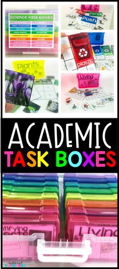 This is a bundle of all of my academic task box bundles. It includes 6 different task box kits: 2 different ELA task box kits, 2 different Math task box kits, 1 social studies task box kit and 1 science task box kit. There is a total of 96 task boxes for primary grade levels. TEACCH, work bins, task boxes, work tubs, independent stations, centers, small groups, one on one instruction,