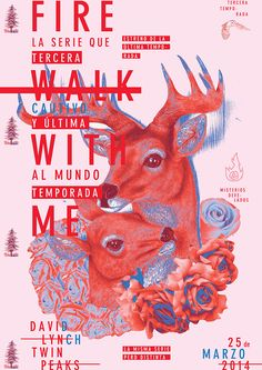 deer fire walk with me poster Twin Peaks Graphic Design Layouts, Graphic Design Posters, Graphic Design Typography, Graphic Design Illustration, Layout Design, Poster Designs, Digital Illustration, Typography Layout, Typography Poster