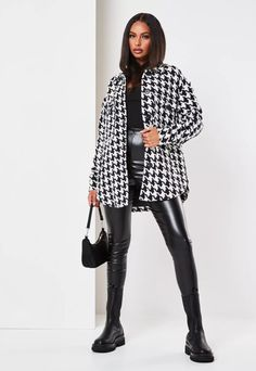 Black Houndstooth Brushed Back Oversized Shacket | Missguided White Jacket Outfit, Black And White Jacket, Blouse Outfit, Winter Fashion Outfits, Fall Winter Outfits, Casual Outfits, Black Outfits, Girly Outfits, Work Outfits