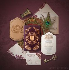 Game of Thrones Wedding Invitation inspired by House Lannister  by Atelier Isabey
