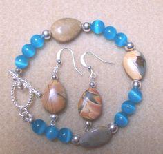 Opal and Piccaso Jasper Bracelet and Earrings