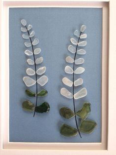 Genuine sea glass art pebble art lupine by EmilysNatureEmporium More #seaglassart