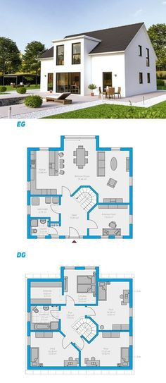 Clarus 180 - schlüsselfertiges Massivhaus - - New Ideas Sims House Plans, Dream House Plans, Modern House Plans, House Floor Plans, Casas The Sims 4, Sims 4 Houses, House Blueprints, House Entrance, Entrance Ideas