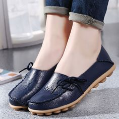 US Size 5-12 New Women Soft Comfortable Lace-Up Flat Loafers Breathable Casual Leather Flats Shoes