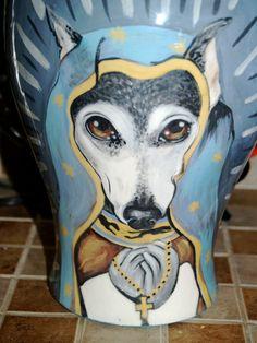 Custom memorial burial Pet DOG Cat cremation urn Lg greyhound sacred religious #TattooedPooch