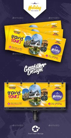 Buy Travel Tours Billboard Templates by grafilker on GraphicRiver. Travel Tours Billboard Templates Fully layered INDD Fully layered PSD 300 Dpi, CMYK IDML format open Indesign or . Travel Tours, Travel And Tourism, Travel Guides, Ad Design, Flyer Design, Layout, Banner Design Inspiration, Facebook Cover Design, Billboard Design
