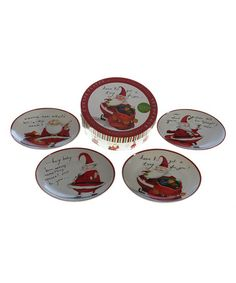 Take a look at this Certified Naughty Santa Canape Plate - Set of Four by Certified International on #zulily today!