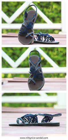 Navy blue white braided sandals