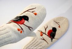 White Wool Mittens with  Felted birds by Indrasideas on Etsy, $39.00