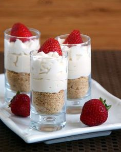 Blender/Magic Bullet Mini no-bake strawberry cheesecake. Reduce sugar or substitute with maple syrup