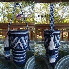 YETI wayuu ถุงหิ้วแก้วเยติ 😍 #wayuustyle #wayuu #wayuubags #handmade #crochet #mochilla #on_la_mool Crochet Case, Crochet Poncho, Yeti Bag, Mexican Wall Decor, Kawaii Crochet, Water Bottle Holders, Crochet Kitchen, Loom Knitting, Bucket Bag