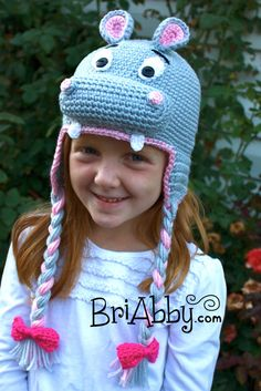 Crochet Hippo Hat With Earflaps