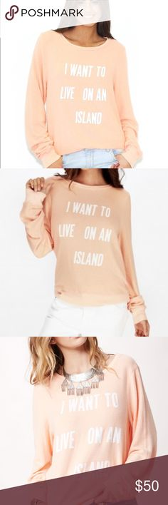 Wildfox live on an island jumper sweatshirt white Good used condition! There is a slight spot on one sleeve. Otherwise this does have a faded look but I think it's how it's supposed to be Wildfox Tops Sweatshirts & Hoodies