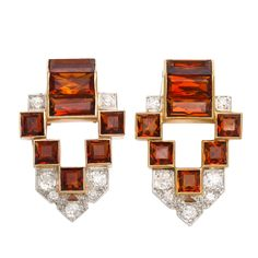 Pair of Cartier Citrine Dress Clips | From a unique collection of vintage brooches at http://www.1stdibs.com/jewelry/brooches/brooches/