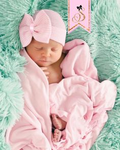 4950697e5bf Newborn Hospital Hat Bow Baby Girl Hospital Hat. Beanie with Bow – pink
