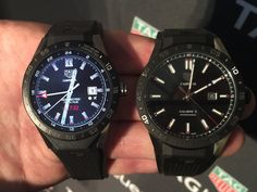 TAG Heuer Carrera connected in the left side and TAG Heuer Carrera Calibre 5 in the right side