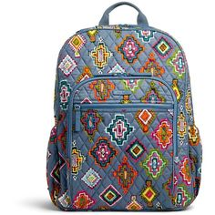 Vera Bradley Campus Tech Backpack ($108) ❤ liked on Polyvore featuring bags, backpacks, painted medallions, day pack backpack, pocket bag, rucksack bags, quilted bag and vera bradley bags