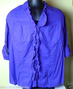 Lane Bryant Woman 26 28 Plus Size Blouse - Purple  cool cotton button front .. FREE SHIPPING.. BlingBlinky.com