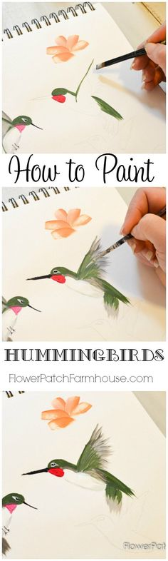 Come learn how to Paint a Hummingbird one stroke at a time. This quick and easy tutorial will have you painting beautiful humminbirds in no time and it is so much fun! FlowerPatchFarmhouse.com