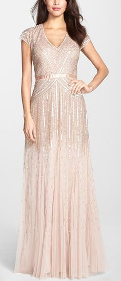 Sparkly, embellished blush colored mesh gown by Adrianna Papell. Perfect for a bridesmaid dress. #dress #bridesmaid #wedding