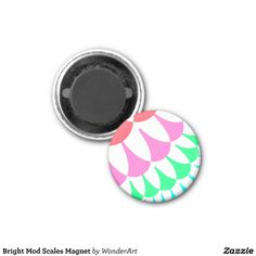 Customizable Bright Mod Scales Small Round Magnet on sale at www.zazzle.com/wonderart* Click on the picture to take you directly to the product for purchase.
