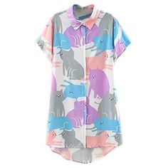Shop Cartoon Cat Print Short Sleeve Longline Shirt - Multi - and Discover  the latest fashion and trends in Women s Knits at Affordable Price. 95033d1c36a2