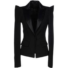 Plein Sud Blazer (168.040 HUF) ❤ liked on Polyvore featuring outerwear, jackets, blazers, black, lapel blazer, multi pocket jacket, long sleeve blazer, plein sud and lapel jacket